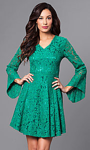 Long Bell-Sleeve V-Neck Lace Party Dress