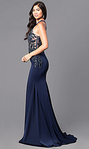 Embellished Illusion Bodice Long Prom Dress
