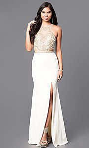 Embellished Lace Bodice Mock Two-Piece Prom Dress