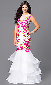 Floor-Length Trumpet-Style Prom Dress with Floral Lace Applique