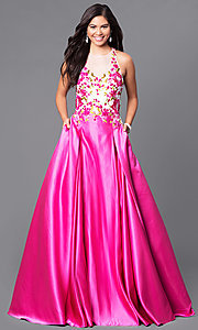 Floor-Length Prom Dress with Lace Applique