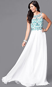 Embellished Open Back Bodice Long Prom Dress