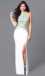 Long Prom Dress with High Neck Embroidered Halter
