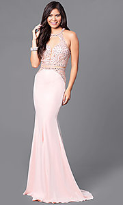 High Neck Embellished Illusion Bodice Long Prom Dress