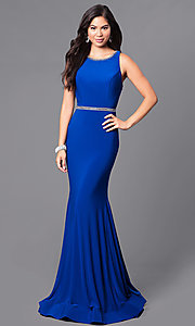 Embellished Back Floor Length Prom Dress