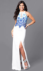 Beaded Bodice Floor-Length Prom Dress with Slit