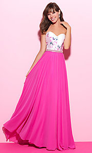 Strapless Prom Dress with Floral Print Bodice
