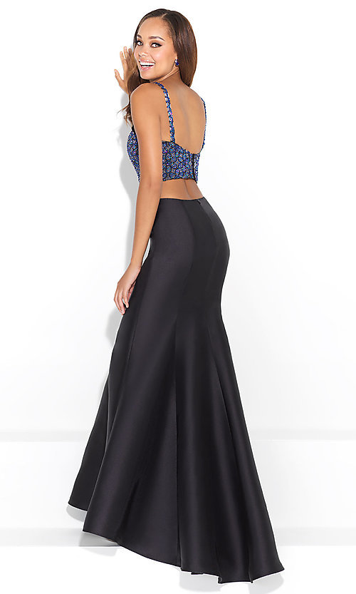 Image of two-piece mermaid long prom dress with beaded top. Style: NM-17-220 Back Image