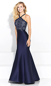 Long Madison James Prom Dress with Lace Bodice