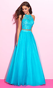 Two-Piece Madison James Halter Top Prom Dress