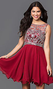 Image of short illusion burgundy party dress with jewels. Style: DQ-9523b Front Image