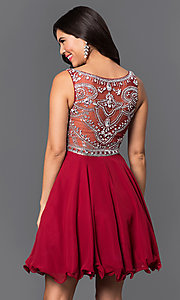 Image of short illusion burgundy party dress with jewels. Style: DQ-9523b Back Image