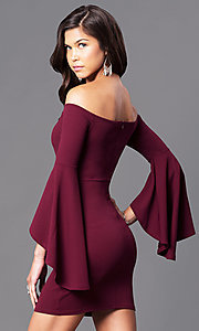 Image of off-the-shoulder bell-sleeve party dress. Style: BLU-BD8075 Back Image