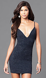 Image of short semi-formal party dress with v-neckline.  Style: BLU-BD7954 Front Image