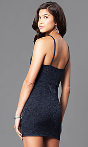 Image of short semi-formal party dress with v-neckline.  Style: BLU-BD7954 Back Image