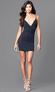 Image of short semi-formal party dress with v-neckline.  Style: BLU-BD7954 Detail Image 1