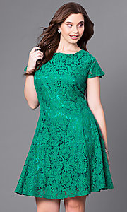 Short A-Line Lace Plus-Size Party Dress