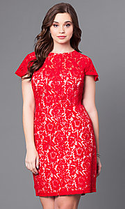 Short Ruby Red Lace Plus Party Dress
