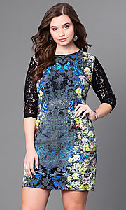 Short Print Plus Party Dress with Lace Sleeves