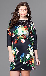 Short Print Plus Party Dress with Three-Quarter Sleeves