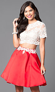 Image of two-piece short-sleeve illusion-lace party dress. Style: VT-VT2045S Front Image