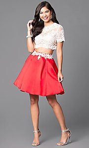 Image of two-piece short-sleeve illusion-lace party dress. Style: VT-VT2045S Detail Image 1