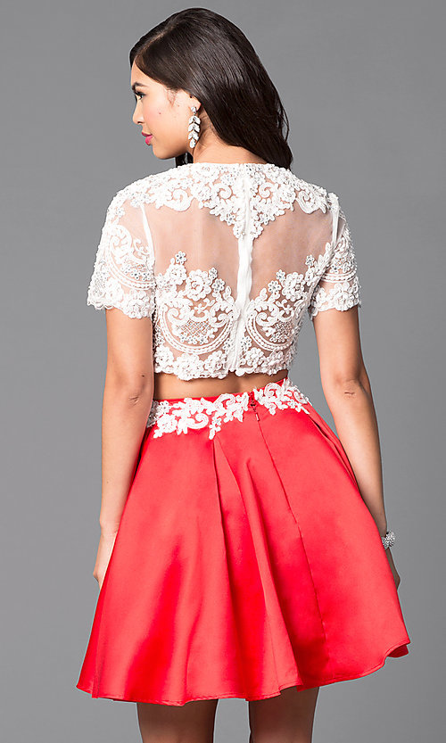 Image of two-piece short-sleeve illusion-lace party dress. Style: VT-VT2045S Back Image