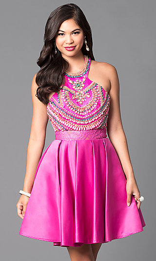Jewel-Embellished Short Halter Party Dress