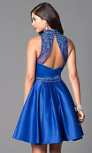 Image of high-neck embellished-bodice short formal dress.  Style: VT-VT2033 Back Image