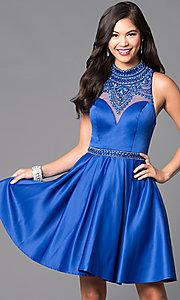 Image of high-neck embellished-bodice short formal dress.  Style: VT-VT2033 Front Image