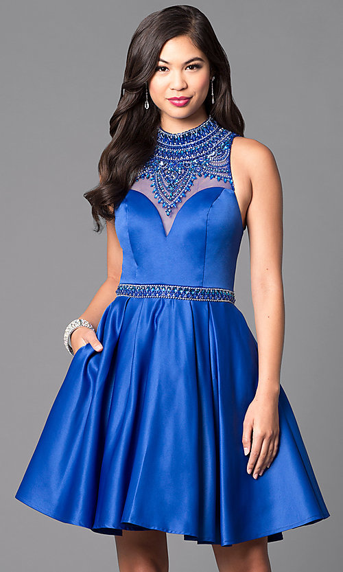 Image of high-neck embellished-bodice short formal dress.  Style: VT-VT2033 Detail Image 1