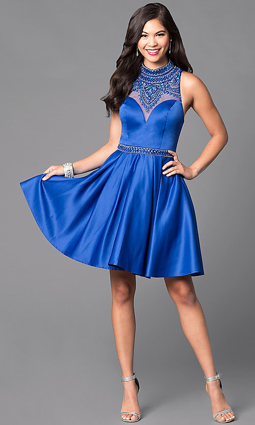 Image of high-neck embellished-bodice short formal dress.  Style: VT-VT2033 Detail Image 2