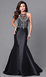 Floor-Length Trumpet Prom Dress with Jeweled Bodice