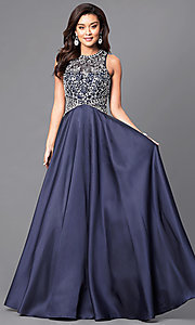 Jewel Embellished Prom Dress with Long Satin Skirt