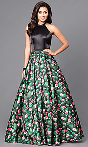 Floral Print Long Prom Halter Dress