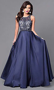 Long Prom Dress with Embellished Illusion Bodice