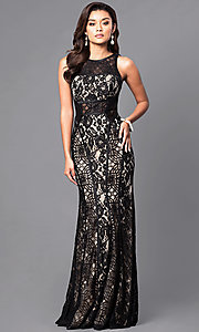 Long Lace Prom Dress with Contrasting Lining