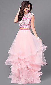 Two-Piece Cap Sleeve Prom Dress with Beaded Bodice