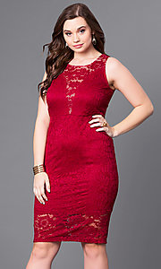 Empire Waist Plus Size Lace Party Dress