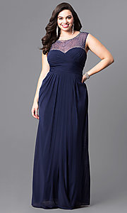 Navy Blue Long Plus-Size Prom Dress with Sheer Neckline