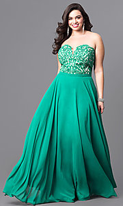 Emerald Green Plus-Size Long Prom Dress
