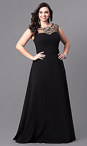Long Black Prom Dress with Sheer Neckline
