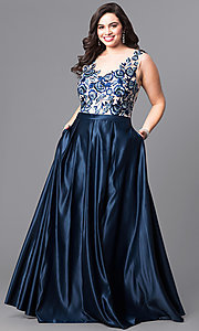 Long Navy Blue Plus-Size Prom Dress