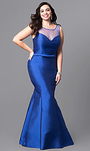 Royal Blue Plus-Size Long Mermaid Prom Dress