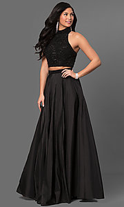 Image of Sherri Hill two-piece prom dress with beaded top. Style: SH-51061 Detail Image 1