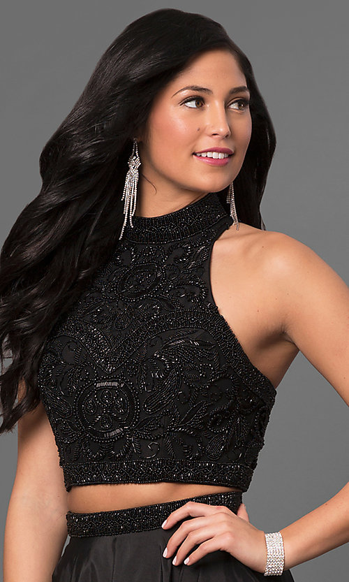 Image of Sherri Hill two-piece prom dress with beaded top. Style: SH-51061 Detail Image 2