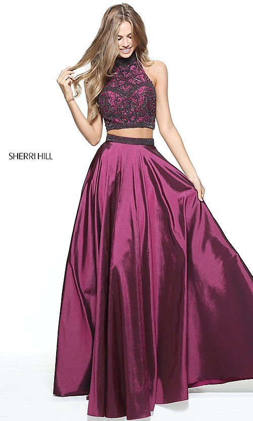 Beaded Sherri Hill Two-Piece Long Prom Dress-PromGirl