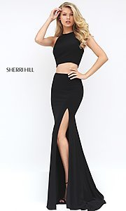 Image of high-neck two-piece prom dress by Sherri Hill. Style: SH-50784 Detail Image 1
