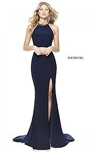 Image of high-neck two-piece prom dress by Sherri Hill. Style: SH-50784 Front Image