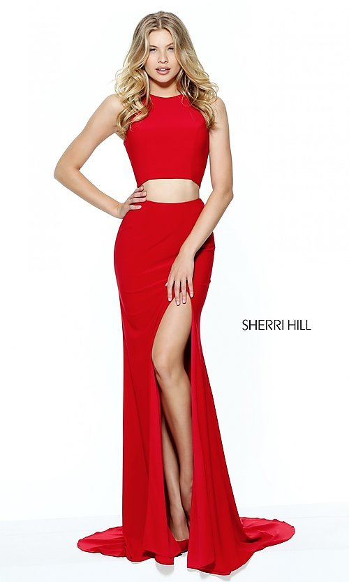 Image of high-neck two-piece prom dress by Sherri Hill. Style: SH-50784 Detail Image 2
